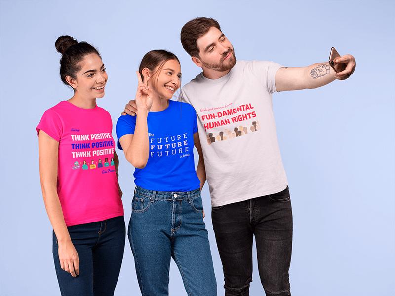T Shirt Mockup Of Three Friends Taking A Selfie In A Studio