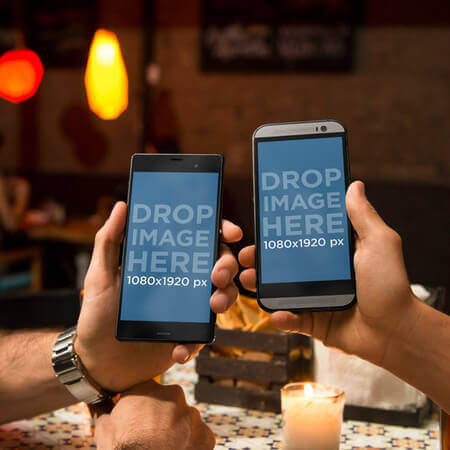 Android Mockup of Couple at Restaurant With Sony Xperia and HTC One