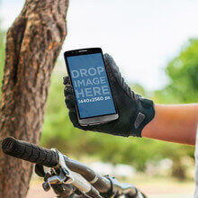 Android Mockup of Young Man Riding His Bike at the Park with LG G3