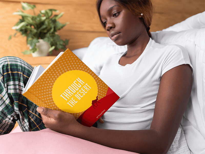 Hard Cover Book Mockup Of A Woman Reading