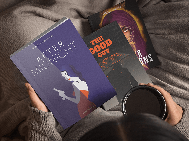 Woman Contemplating Three Books Mockup While Drinking A Tea