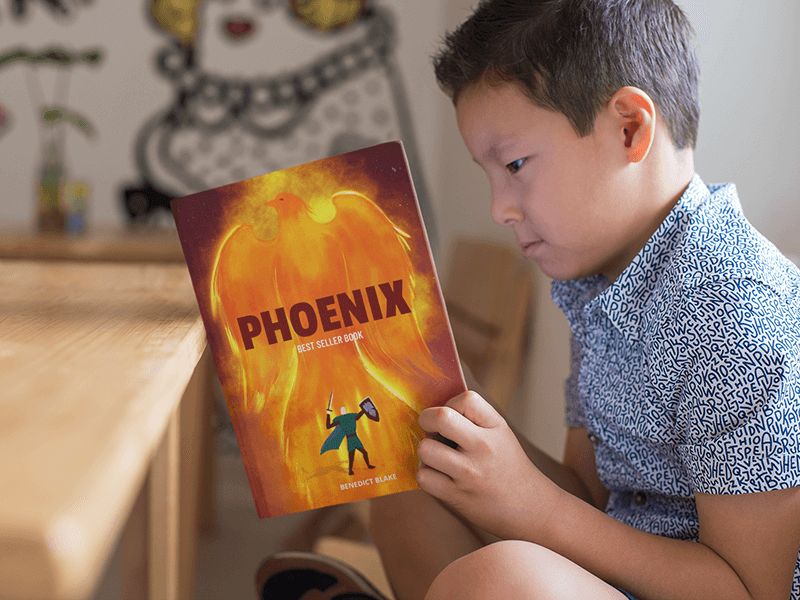Book Mockup Of A Little Kid Reading