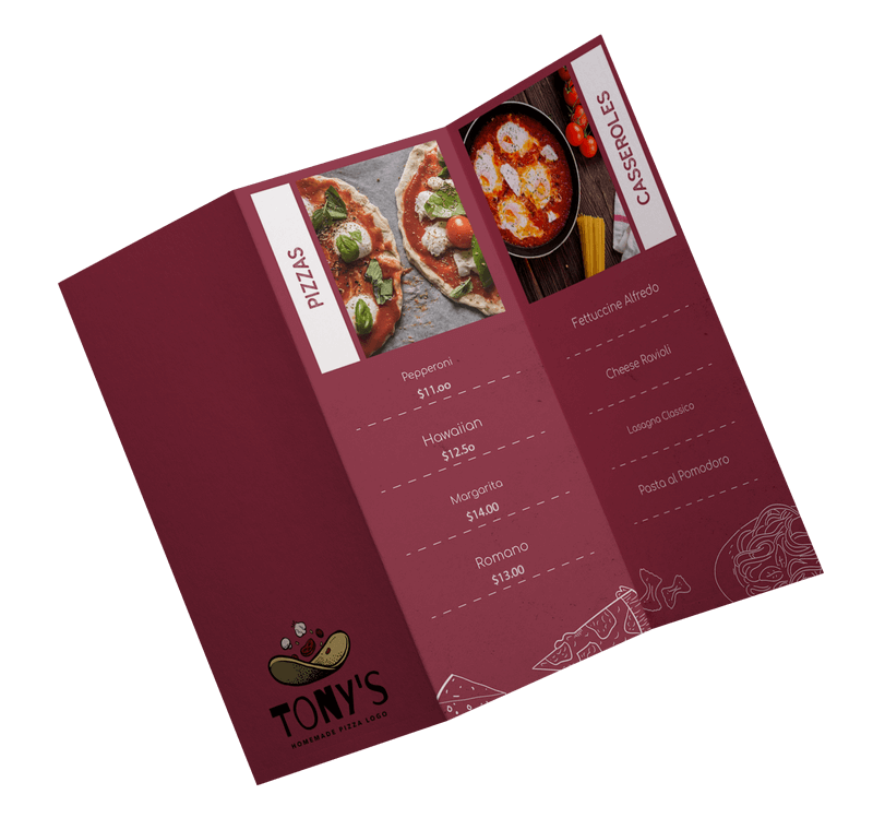 Mockup Of A Trifold Brochure Featuring A Pizzeria Menu3