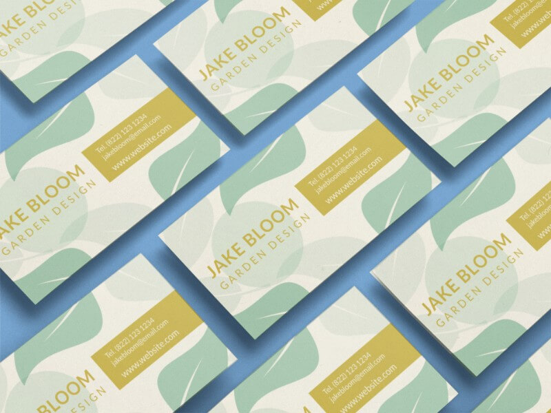Business Card Mockup Of Multiple Cards In An Angled Arrangement