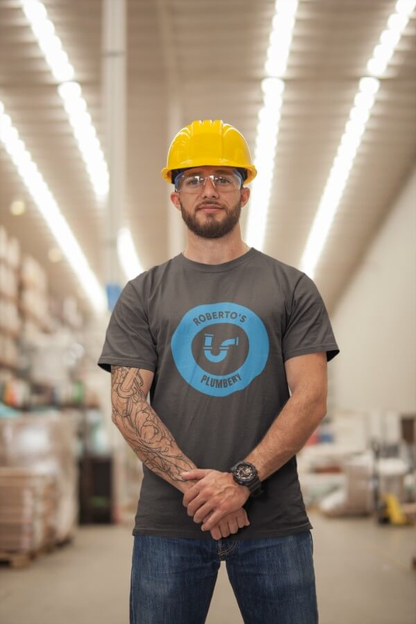 Man Wearing A T Shirt Mockup And A Yellow Hard Hat