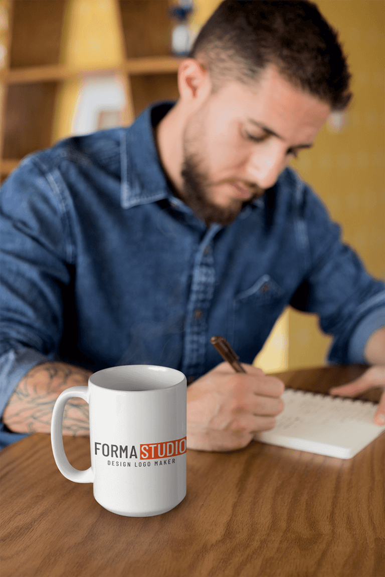 Mug Mockup Of A Handsome Writing In His Journal 24023