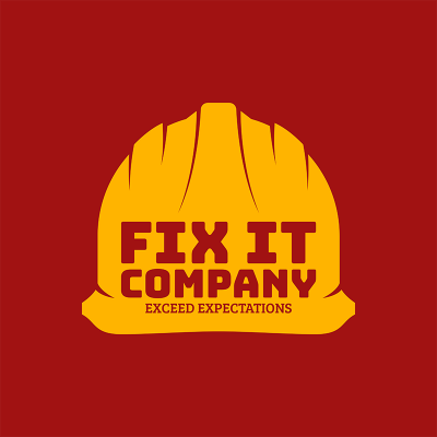 Construction Company Logo Maker With Hard Hat Icon