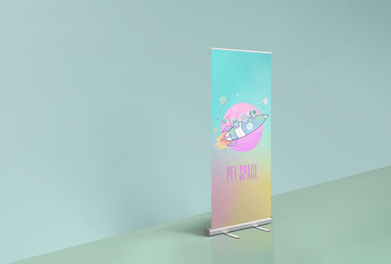 Render Roll Up Banner Mockup Featuring A Simplistic Background 24514