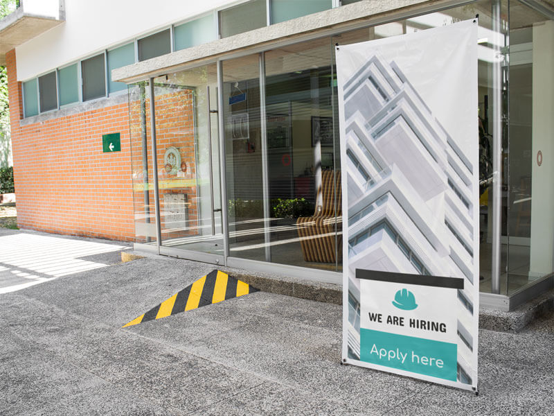 Vertical Banner Mockup Outside A Local Business A10390