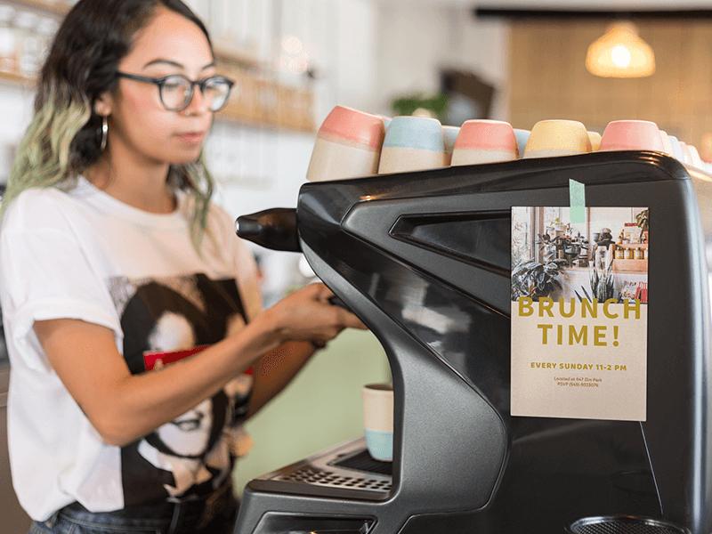 Flyer Mockup At A Cafe Feauting Brunch Specials Flyer Design