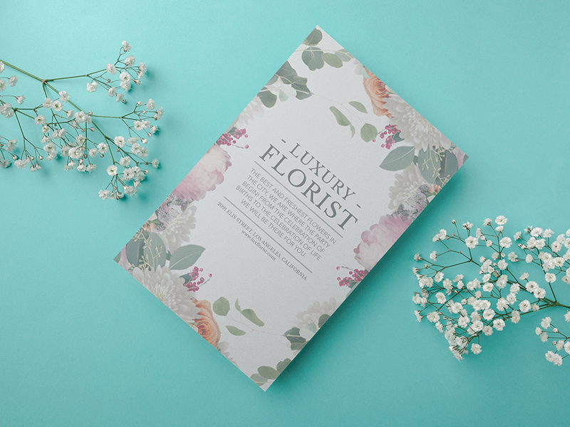 Flyer Mockup With Flowers Featuring Florist Flyer