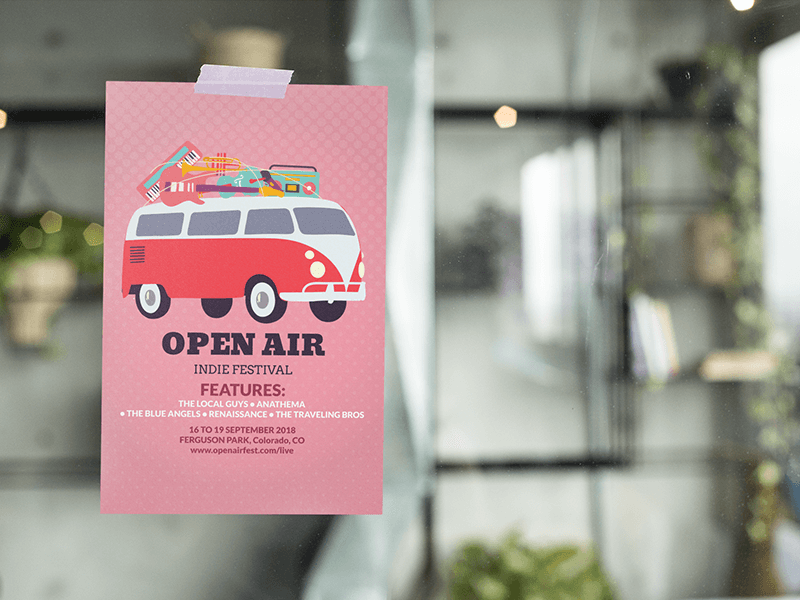 Mockup Of A Flyer On A Window Featuring Music Festival Flyer Design