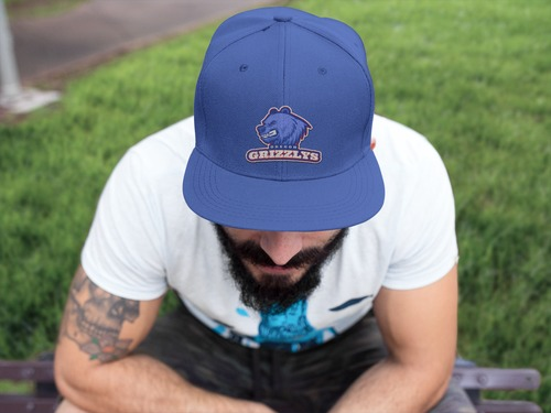 Grizzlys Snapback Hat Mockup Landing Page