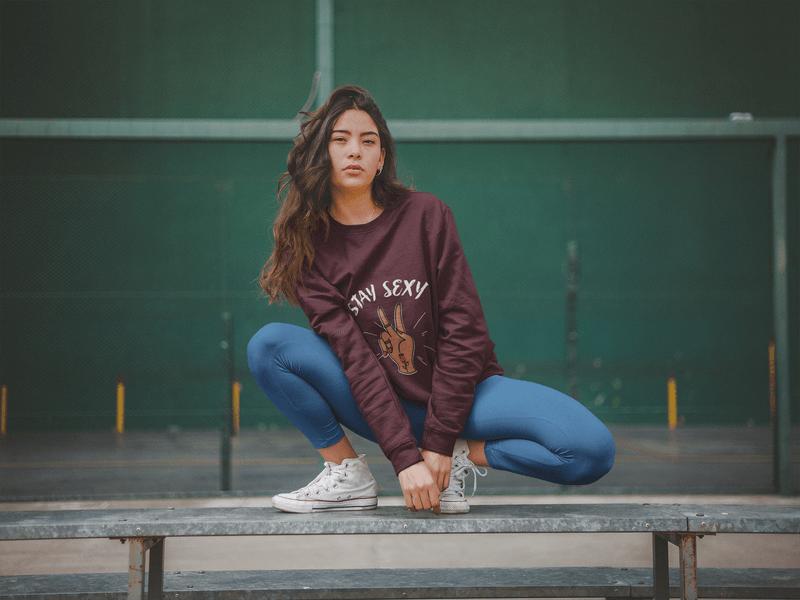 Crewneck Sweatshirt Mockup Of A Woman Crouching
