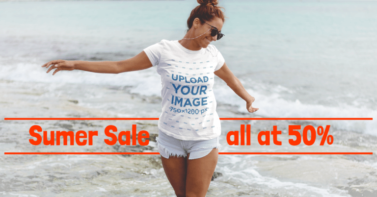 Beautiful Girl On The Beach Facebook Ad Template For T Shirt Brands