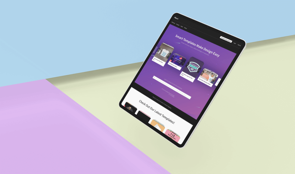 Mockup Featuring An Ipad Pro Floating Over A Colored Background