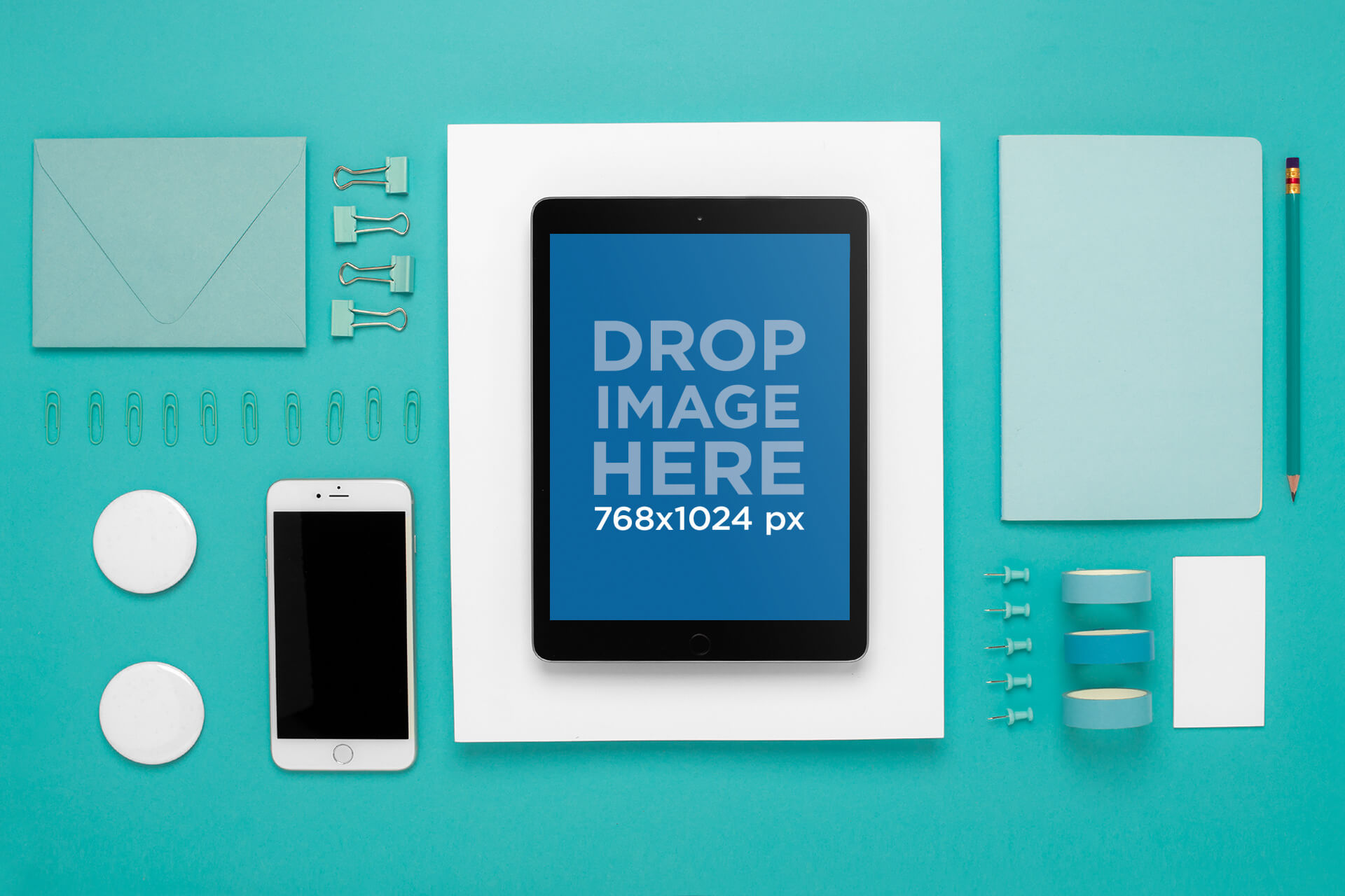 Mockup Featuring An Ipad On A Flat Lay Background