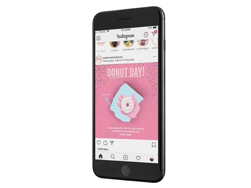 Transparent Iphone Mockup With Instagram Post