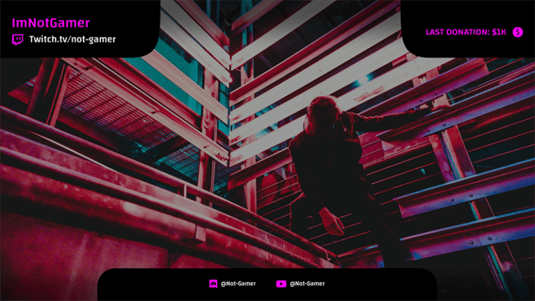 Twitch Overlay Design Template With Neon Images 1068c