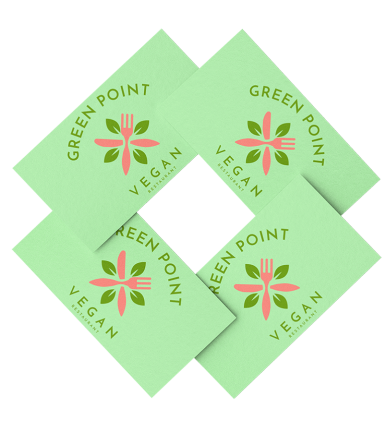 Mockup Of Four Business Cards Overlapped