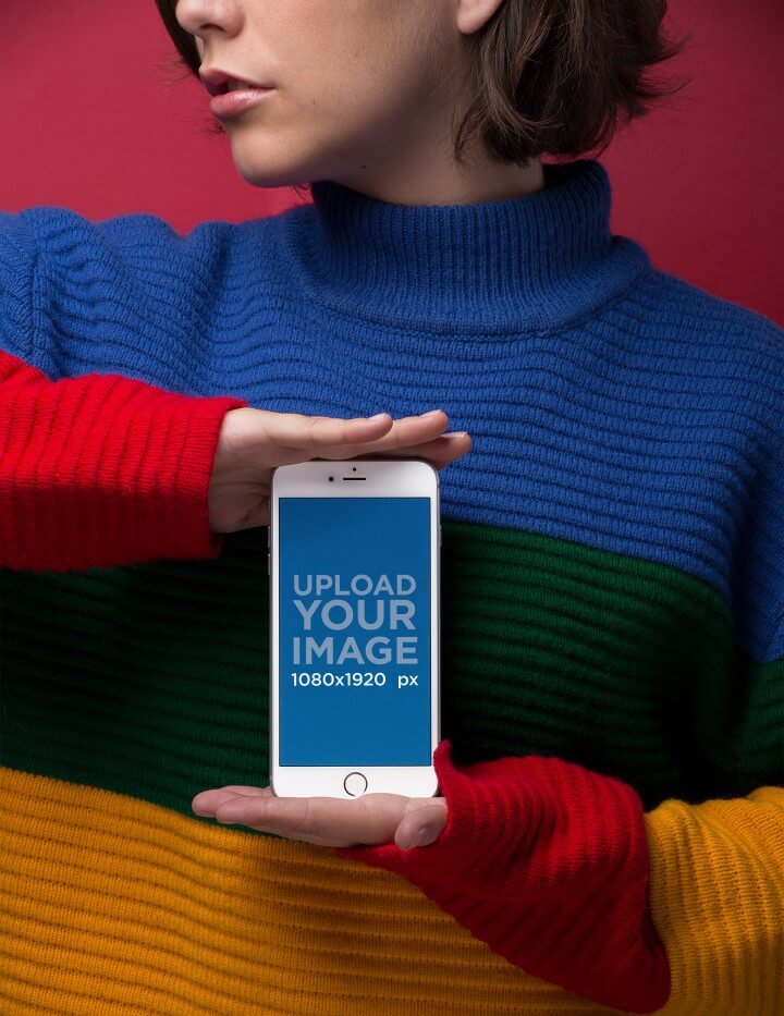 Silver Iphone 8 Mockup Of A Short Haired Woman In A Striped Sweater 21831