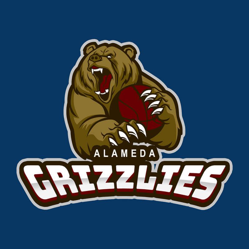Basketball Logo with Aggressive Grizzly Bear
