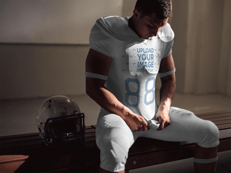 football jersey designer locker sitting