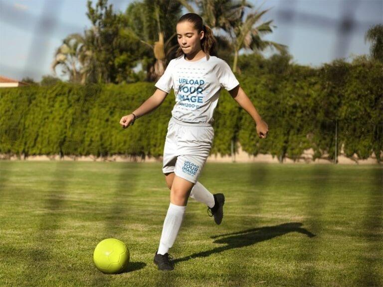 Custom Soccer Jersey Girl Running
