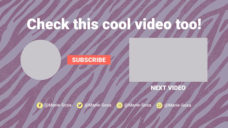 Youtube End Card Generator Featuring A Zebra Design