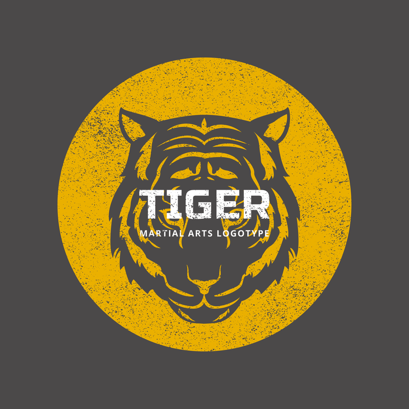 Mma Logo Maker With Tiger Illustrations Over Solid Background