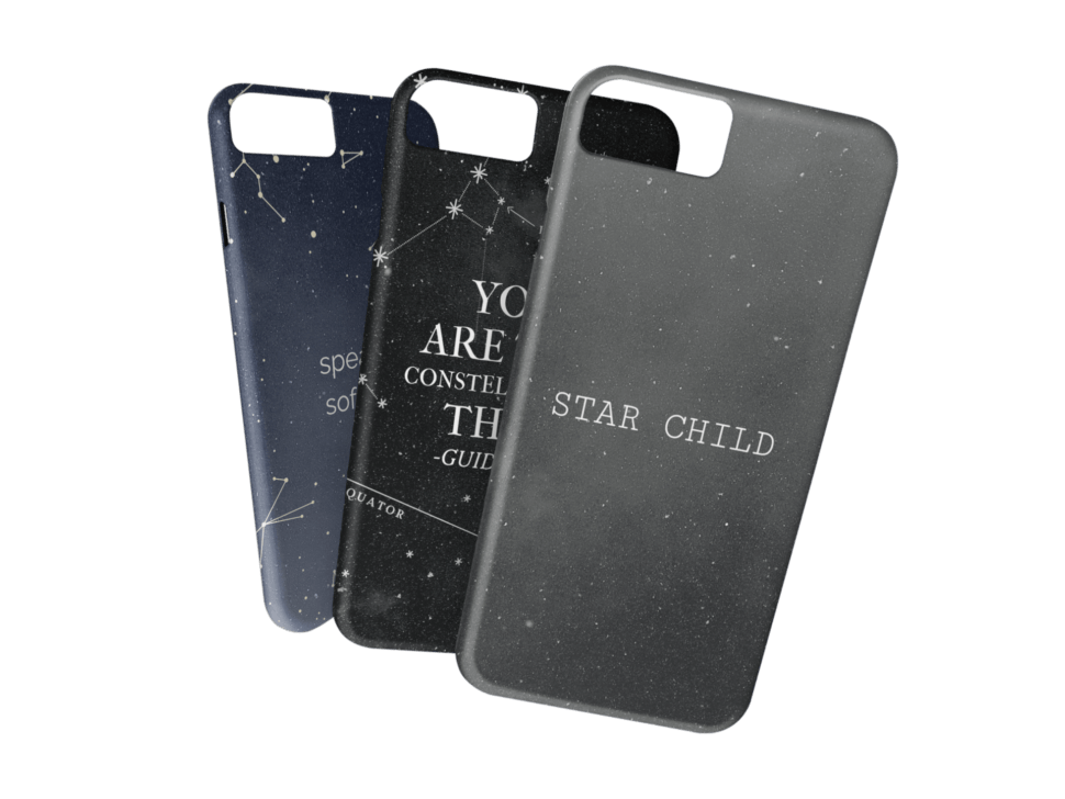Mockup Featuring Three Different Iphone Cases With Transparent Background