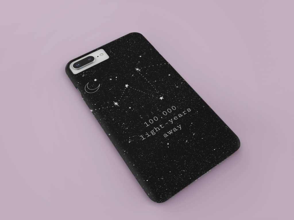 Mockup Of An Iphone Case Resting Over A Solid Surface