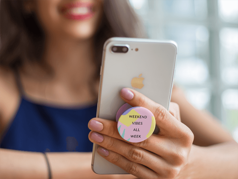 Popsocket Mockup Featuring A Woman
