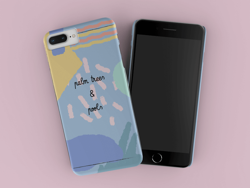 Render Mockup Of An Iphone Case Lying Over Another Iphone On A Flat Surface