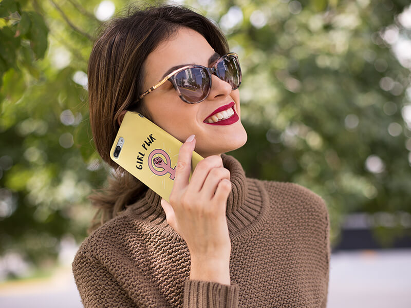 Smiling Woman With An Iphone Case Mockup