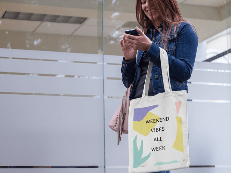 Sublimated Canvas Tote Bag Mockup Of A Woman Texting