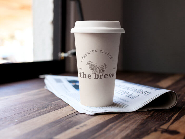 Coffee Cup Mockup With Coffee Shop Logo