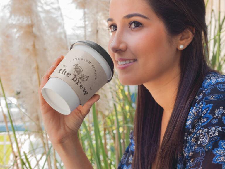 Coffee Sleeve Mockup With Coffee Shop Logo