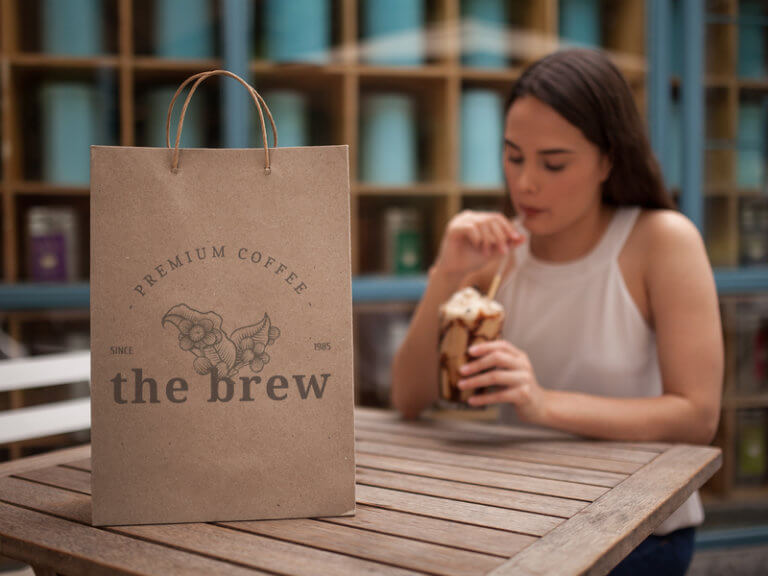 Take Out Bag Mockup With Coffee Shop Logo