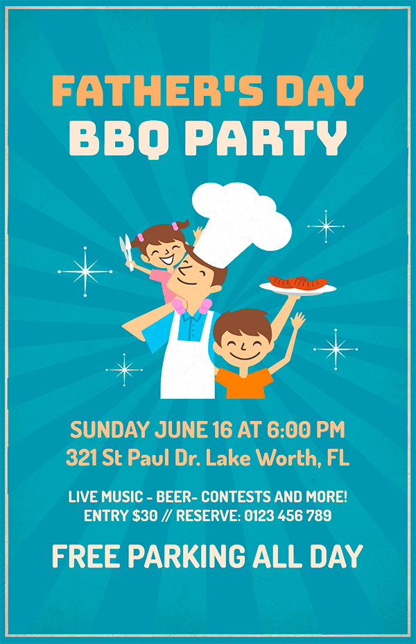 Bbq Party For A Father S Day Flyer Maker