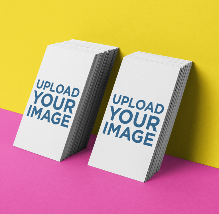 Business Card Mockup Of Two Vertically Stacked Sets Leaning Against A Wall 21954 Copy