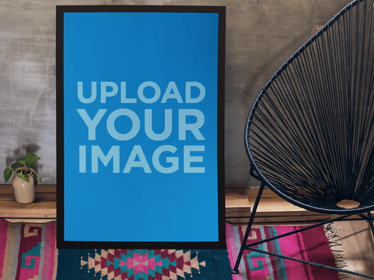 Poster Mockup Leaning Against A Wall In A Stylish Living Room A10404