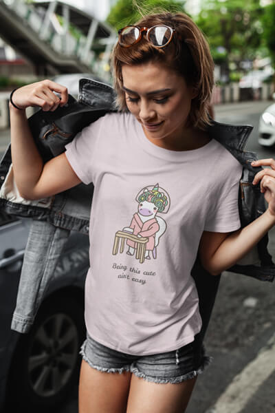 T Shirt Mockup Featuring A Short Haired Woman