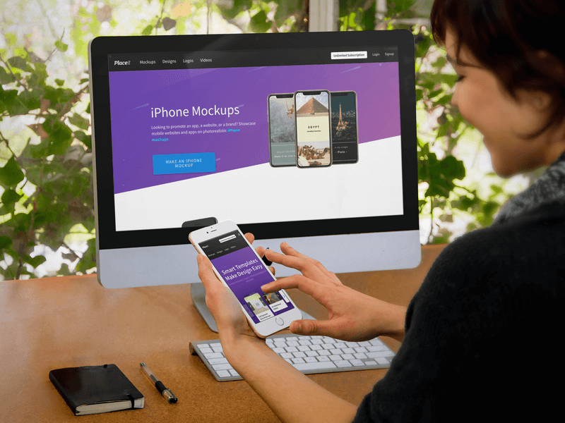 Product Mockup, Imac And Iphone Being Used By Woman