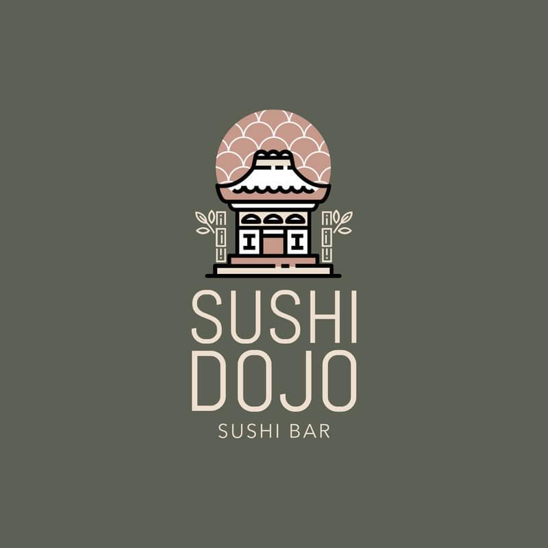 Japanese Restaurant Logo With Castle
