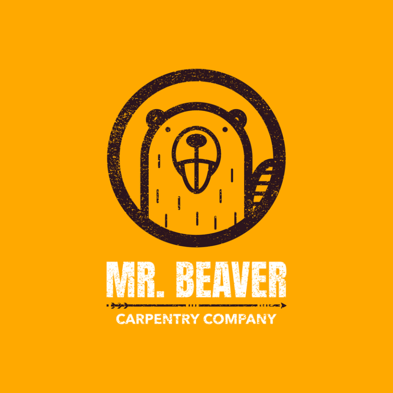 Carpentry Logo Template With Beaver Graphic