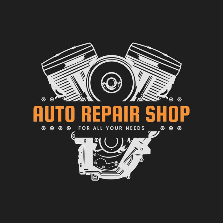 Mechanic Logo Maker With Motor Line Art