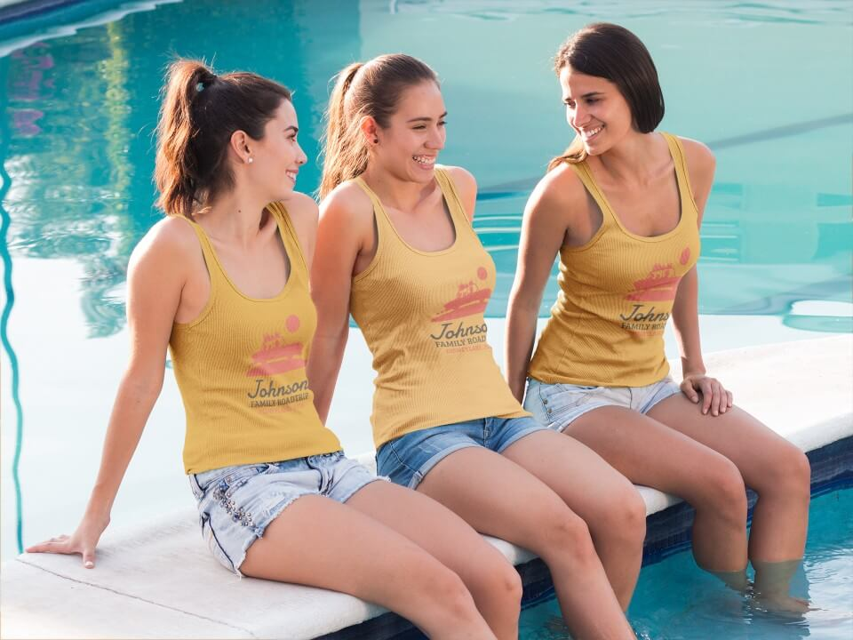 Three Girls Wearing Different Tank Tops Mockup At The Pool