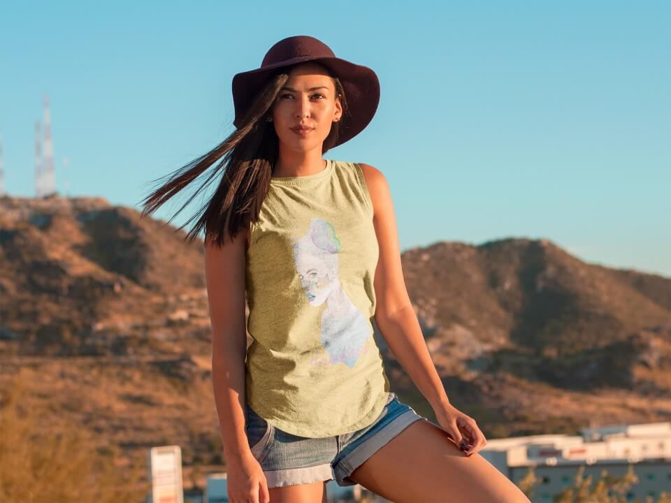 Woman Modeling In The Desert Tank Top Mockup
