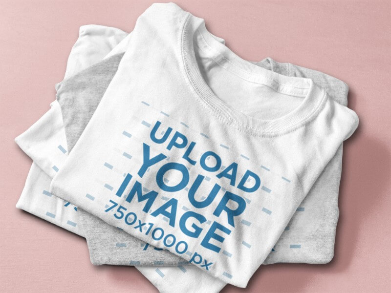 T Shirt Mockup Featuring A Stack Of Folded T Shirts 6402a